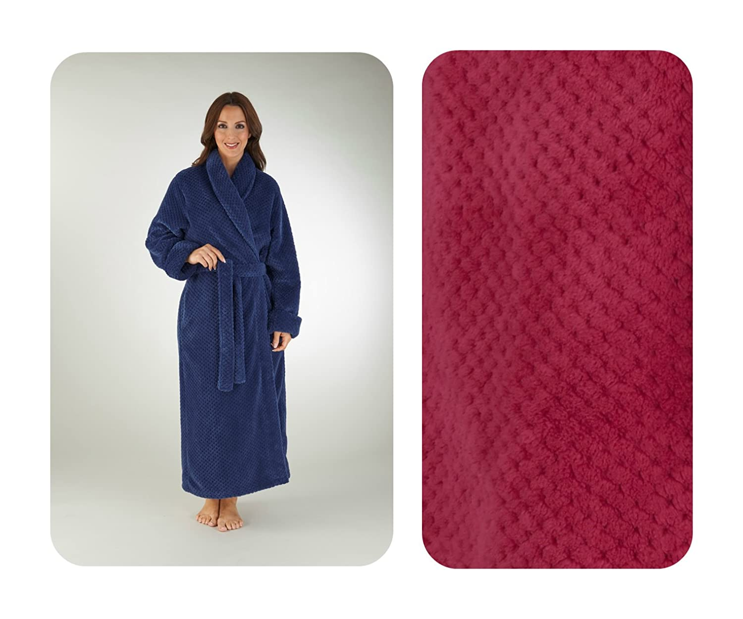 Slenderella Womens Dressing Gown, Wrap. Luxury Super Soft Premium Waffle Fleece. Red or Blue. Sizes S - XL