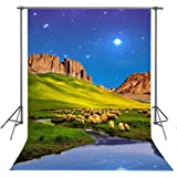 9x6ft Agriculture Backdrop Country Prairie Greengrass Field Farm Meadows Nature Landscape Sheep Cattle Flock Grazing Countryside Pasture Photography Background Photo Studio Props