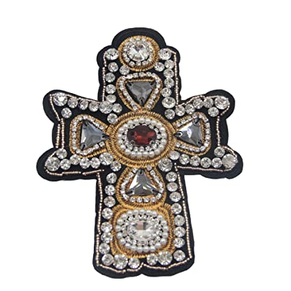 Image Unavailable. Image not available for. Color  Nail Bead Sequins  Rhinestones Cross Patch 1PC Stick Applique Patch Embroidery Clothing ... 7ab2fad5c3fa