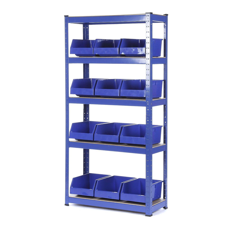 Scaffalatura in acciaio resistente 1500 mm di altezza x 750 mm di larghezza x 300 mm di profondità – 150 kg di carico uniformemente * con 12 contenitori blu Racking Solutions