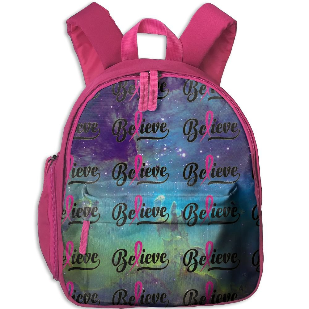 Believe Cancer Ribbon School Backpacks For Boys Girls Cute Bookbag Outdoor Daypack Colorkey