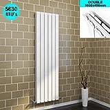 1600 x 452 mm White Vertical Column Radiator Double Flat Panel Designer Bathroom Radiator