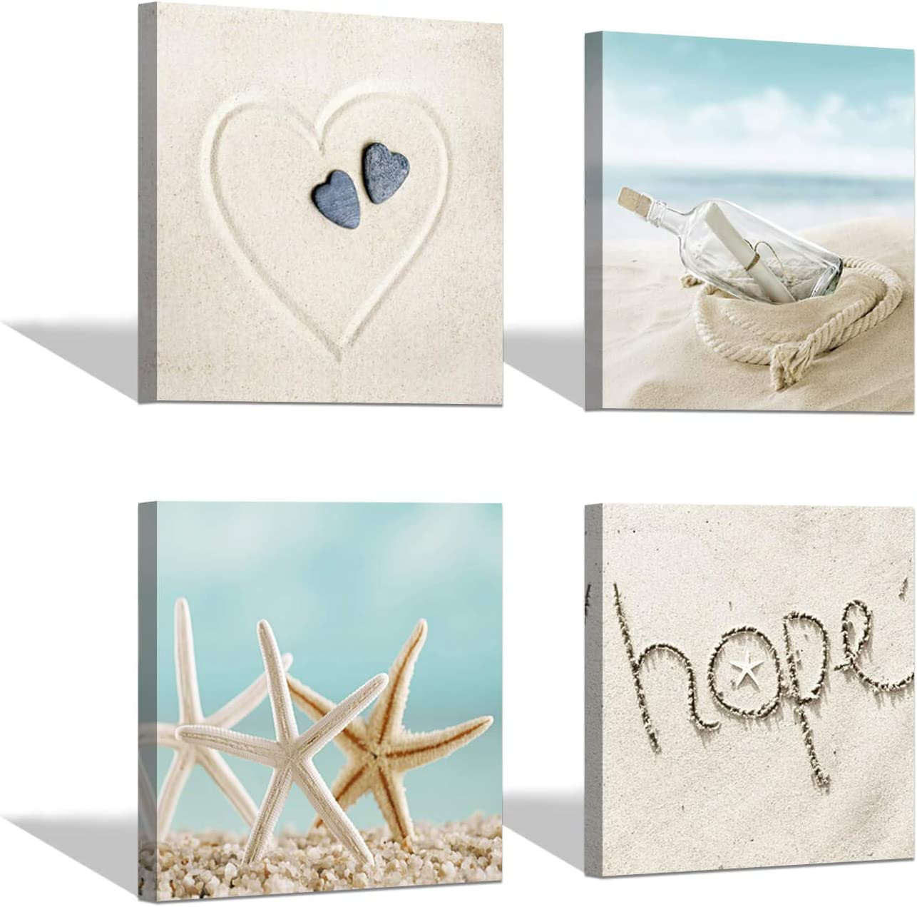 Beach Sandy Pictures Wall Art: Seascape Starfish & Love Hope Shapes with Drift Bottle Artwork Print Pictures for Wall Decoration(12'' x 12'' x 4 Panels)