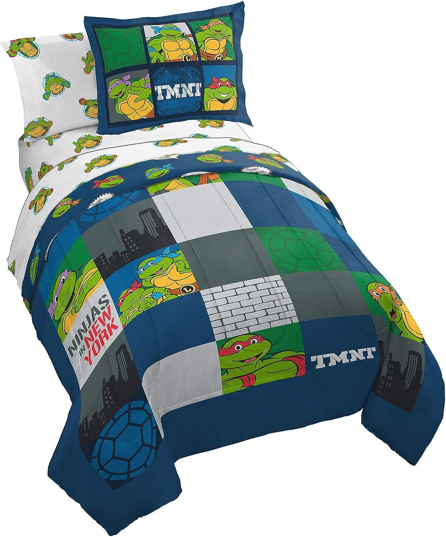 Nickelodeon Teenage Mutant Ninja Turtles NY Ninjas 5 Piece Twin Bed Set - Includes Reversible Comforter & Sheet Set Bedding - Super Soft Fade Resistant Microfiber (Official Nickelodeon Product)