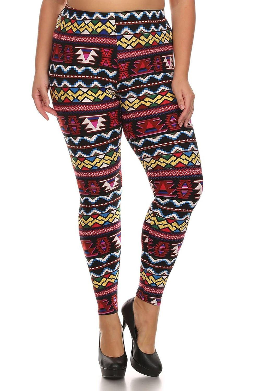 ALWAYS Women's Plus Stretch Tribal Floral Striped Print Long Leggings (L-XXL)