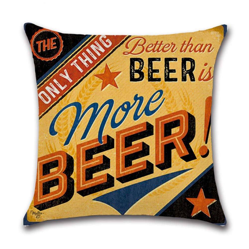 Cotton Linen Throw Pillow Case U-LOVE Square Decorative Cushion Cover with Beer Pattern 18 X 18 Inch Pillow covers,4 pack