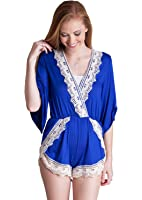 Ladies Crochet Embroidered V-Neck Wrap Short Sleeve Romper, Multiple Colors