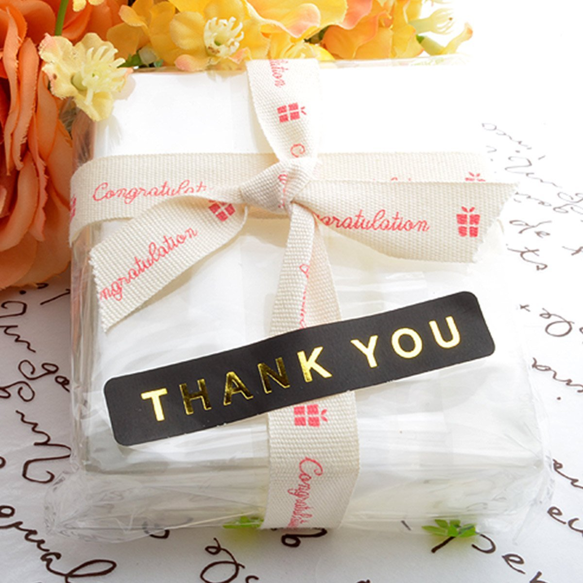 Chawoorim Gold Pearls Black Thank You Stickers Labels Tags