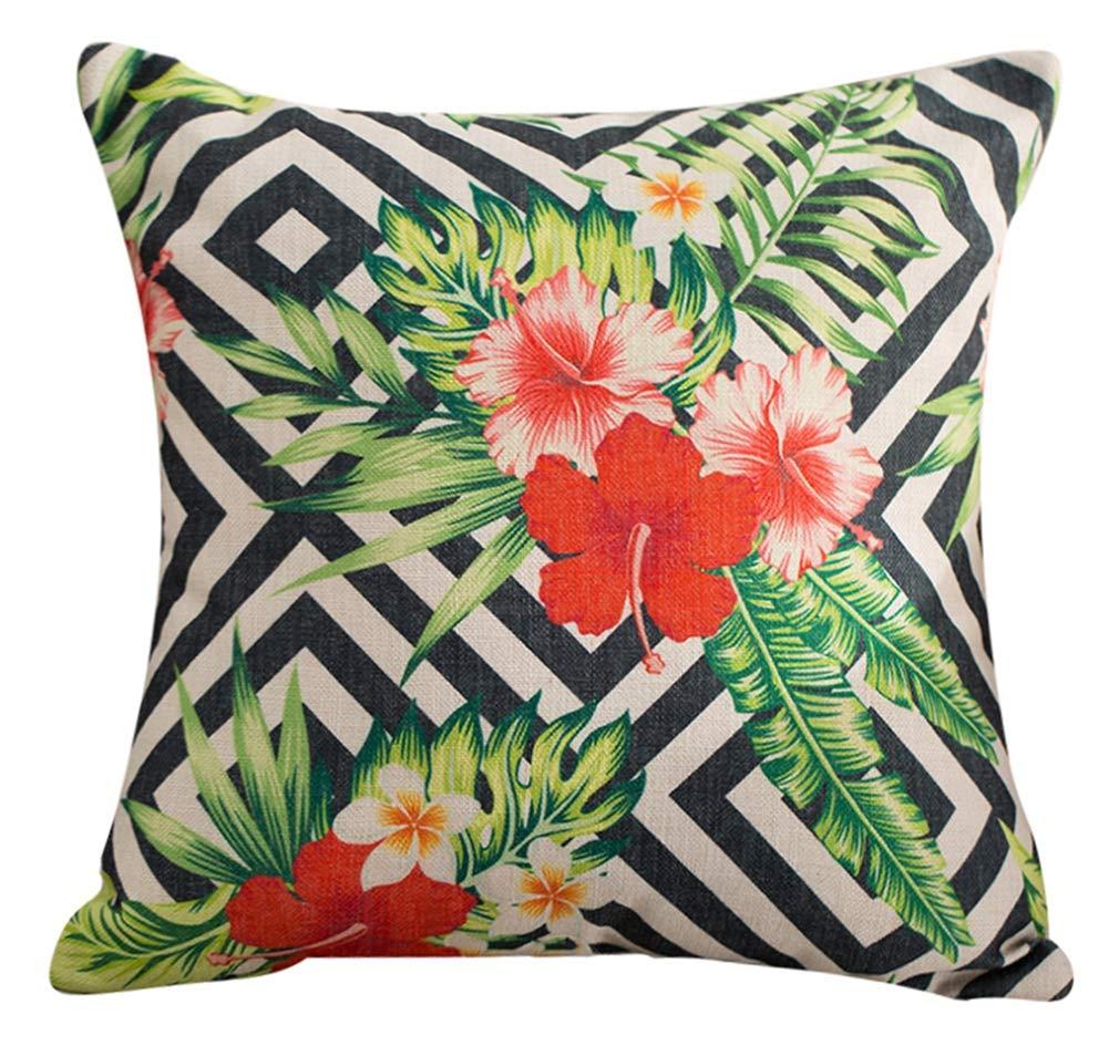 マルチサイズLeaves /フローラル/ Parrotスロー枕カバークッションカバーlivebycareリネンコットンPilllowcase Pillowslip Shamジッパー寝室ソファソファ椅子シート背面 20*20''WITH INSERT グリーン LC_YZ_yzclbz-001-04-5050-S B079HT1SF6 Flower Leaf Paisley 20*20''WITH INSERT