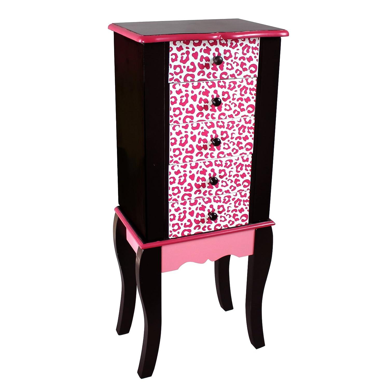 Fashion Prints TD-11672A Armoire à Bijoux pour Enfant - Bois - Rose-Noir - 30 -5 x 20 -96 x 73 -66 cm