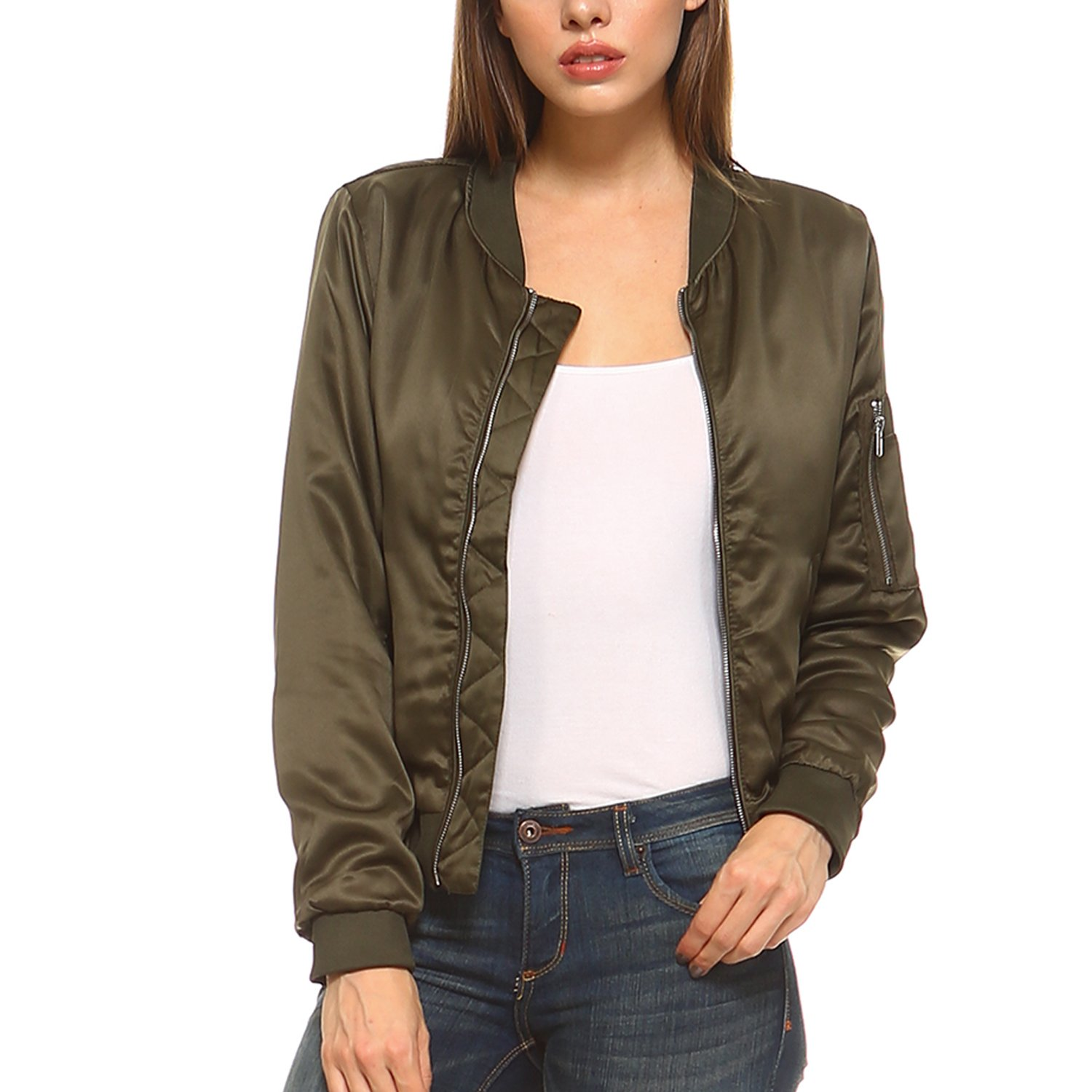 Fashionazzle Women's Solid Classic Zip Up Quilted Short Bomber Jacket Padded Coat (Large, BMJ02-Olive)