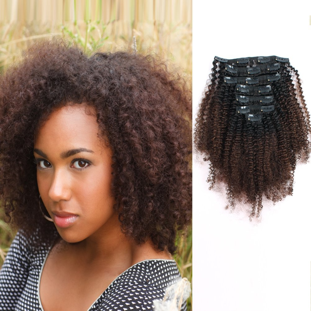 AmazingBeauty 8A Grade 3C 4A Big Afro Kinkys Curly Ombre Hair Extensions Double Weft Real Remy Human Hair for African American, Natural Black Fading into Chocolate Brown Two Tone Color TN-4, 20 Inch by AmazingBeauty
