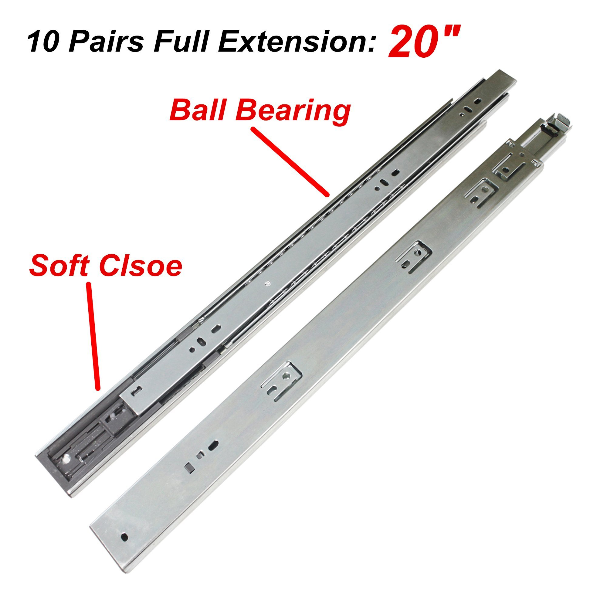 Home Building Store 10 pairs Soft Close Ball Bearing Side Mount Drawer Slides 3-Folds Full Extension 20'' ;100-Pound Capacity