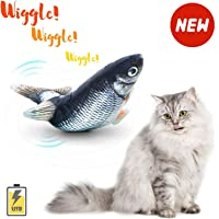 FineSource Electric Moving Cat Kicker Fish Toy, Realistic Flopping Fish, Wiggle Fish Catnip Toys, Motion Kitten Toy, Plush Interactive Cat Toys, Fun Toy for Cat Exercise
