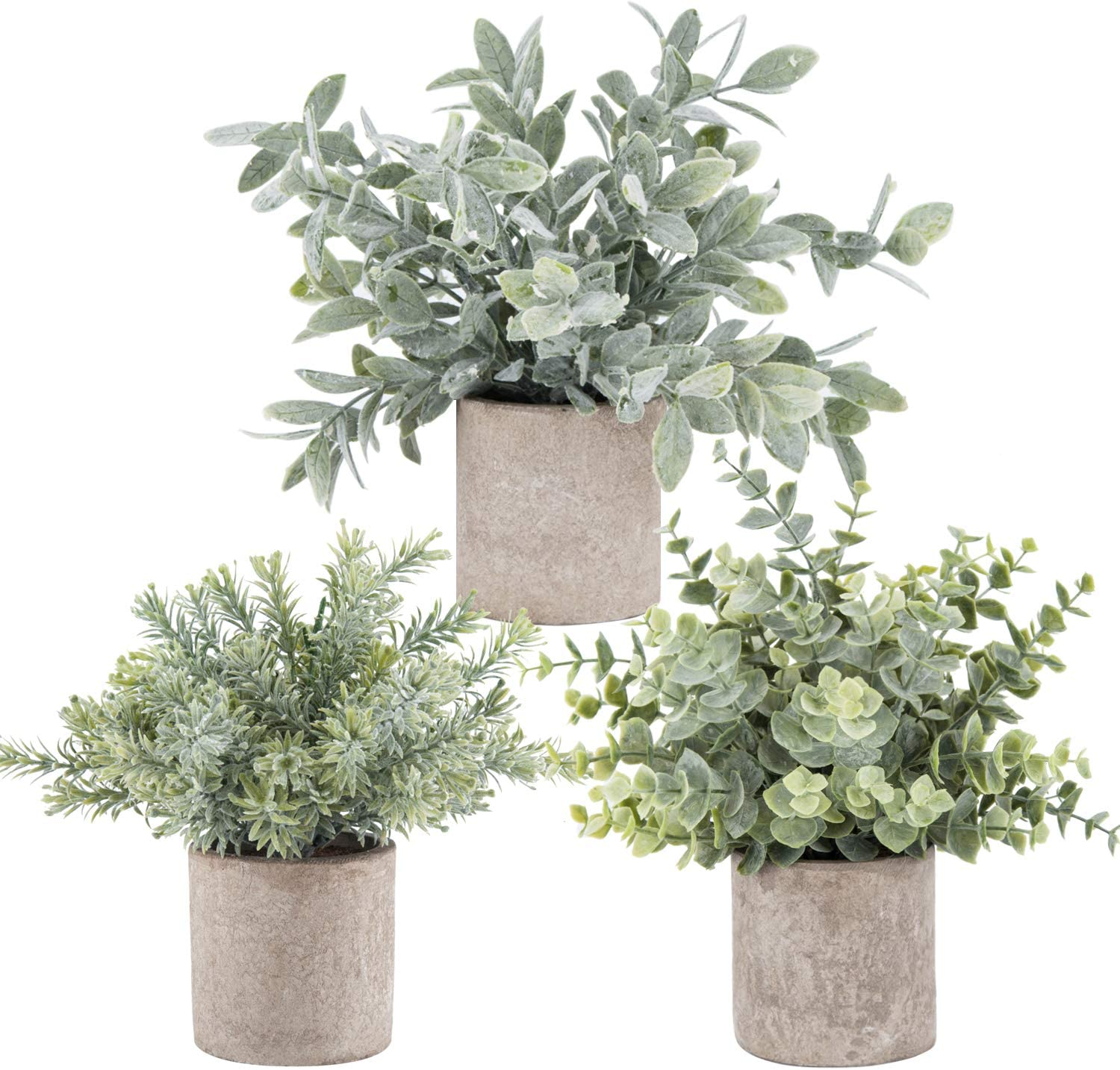 3 Pack Mini Potted Artificial Eucalyptus Plants Plastic Fake Green Rosemary Plant for Home Office Desk Room Decoration