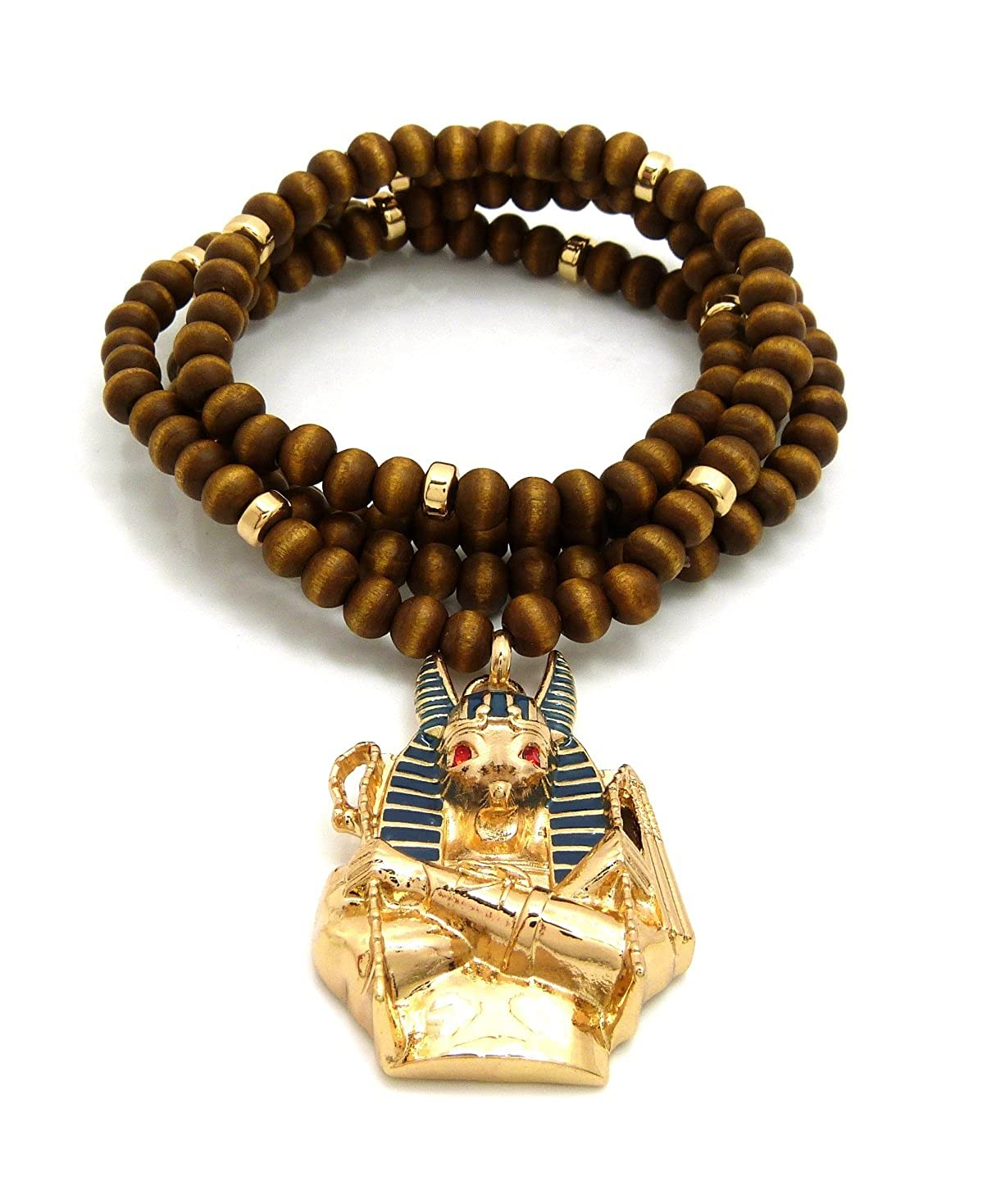 Egypt God Anubis Head Pendant 6mm 30 Wooden Bead Necklace in Gold Tone