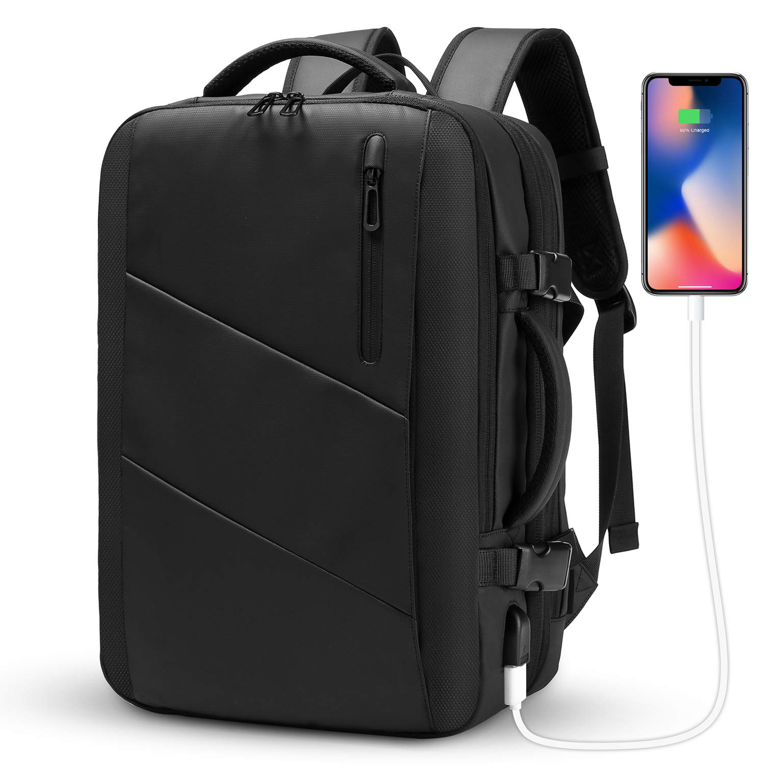 Travel Backpack,WUAYUR 15.6inch Anti Theft Laptop Backpack with USB Charging Port,40L Flight Approved Carry On Luggage Backpack for Travel/Business/College/School/Men/Women(Black) by wuayur