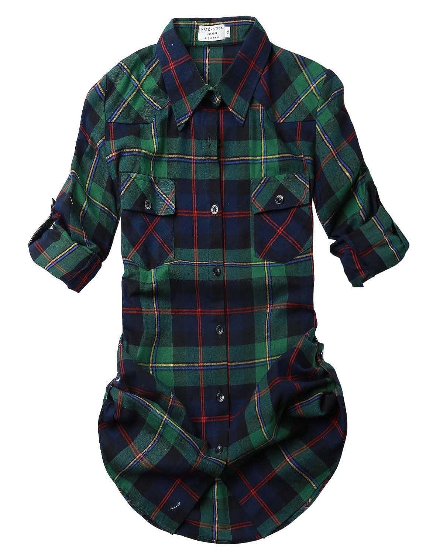2021 Checks 2 Match Women's Long Sleeve Flannel Plaid Shirt