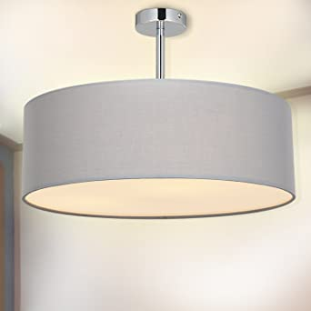 SPARKSOR Ceiling Light In Chrome Matt Fabric Drum Shade Gray Pendant For Living Room