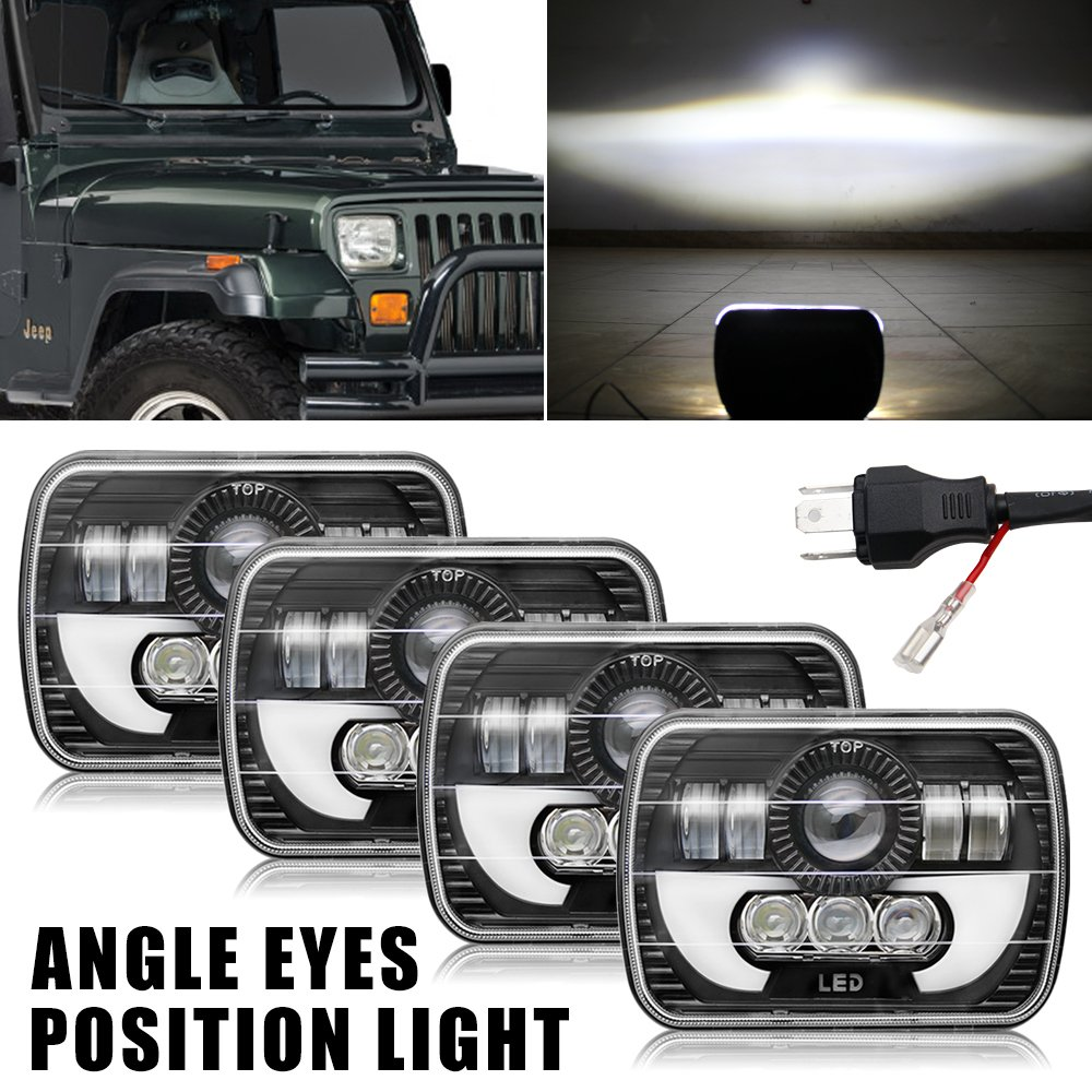 Colight LED Rectangular Headlight Projector 7x6 5x7 inch 4pcs CREE Sealed Beam Replacement Hi/Lo Beam DRL FitsHeadlamp Bulb for Jeep Wrangler, T002N,