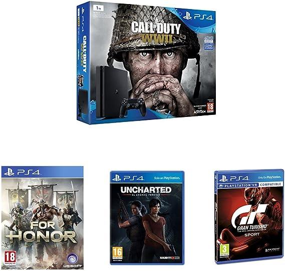 PlayStation 4 (PS4) - Consola De 1 TB + COD WWII + For Honor - Standard Edition + Gran Turismo Sport - Edición Estándar + Uncharted: El Legado Perdido: Amazon.es: Videojuegos