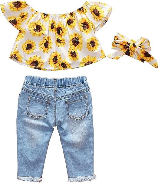 HenzWorld Little Girls Clothing Set Sleeveless Flowers Tank Tops Short Pants Outfit Pink Green 1-7 Years