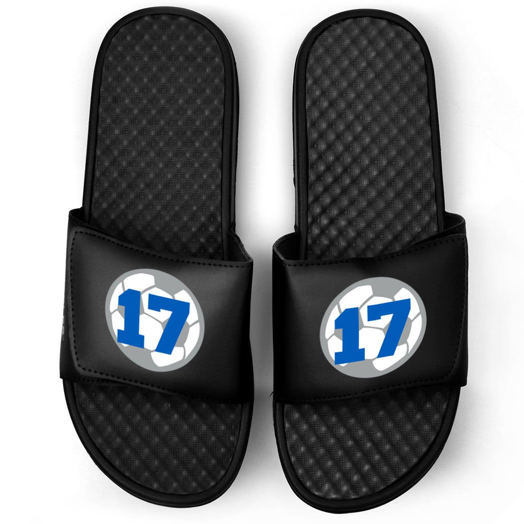 Customized Soccer Black Slide Sandals | Soccer Ball with Number | Size M12.5 | ROYAL