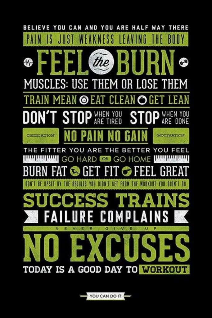 Pyramid America Workout Posters for Home Gym Feel The Burn Motivational Exercise Inspirational Cool Wall Decor Art Print Poster 24x36