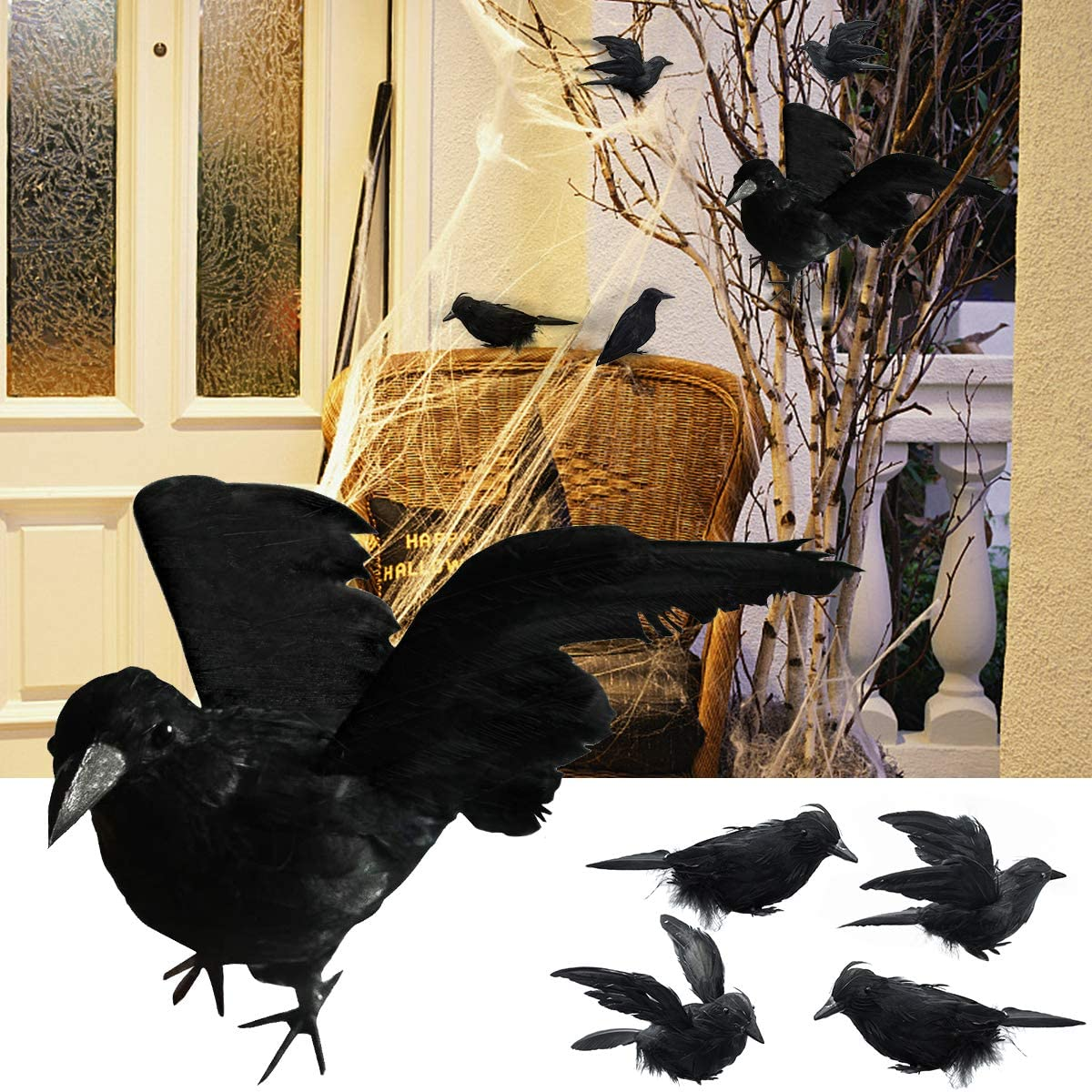 Evoio Halloween Black Feathered Crows -Handmade Black Feathered Crow for Halloween Decorations/Black Birds Ravens Props Décor(1 Pc Huge,4 Pc Small)