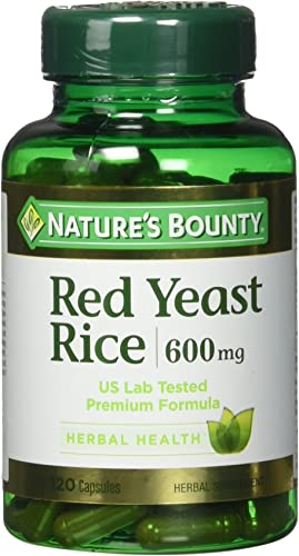 Nature s Bounty Red Yeast Rice Pills and Herbal Health Supplement, 600mg, 120 Capsules