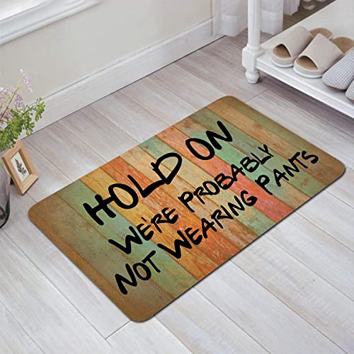 DoubleJun Hold On We re Probably Not Wearing Pants Funny Entrance Mat Floor Rug Indoor Front Door Mats Home Decor Machine Washable Rubber Non Slip Backing 29.5 W X 17.7 L