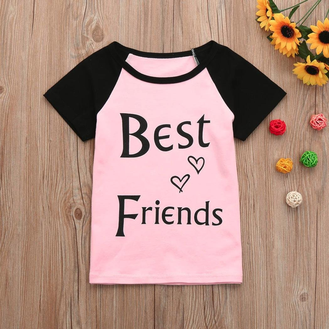 kaiCran Best Friends Printed Casual Short Sleeve Tops Best for Mother and Baby