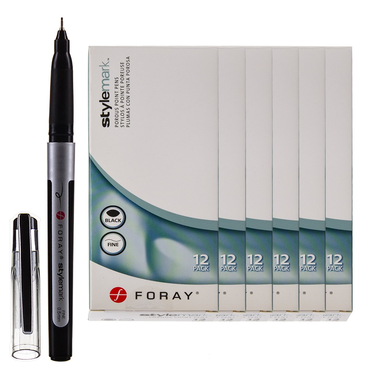Foray Stylemark 72 Pack Porous Point Pens Fine Line 0.5mm Tip Black Ink Smooth Writing Marker Set