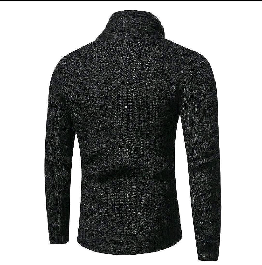 YUNY Mens Oversize Semi-high Collar Horn Button Top Tee Sweater Black S