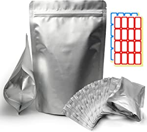 25 Mylar Bags for Food Storage(9.44 Mil )2 Quart Foil Bags Resealable Ziplock Bags for Long Term Food Storage Odor Free Heat Resistant Light And Moisture Proof fresh Saver Pack(7x12.2in)