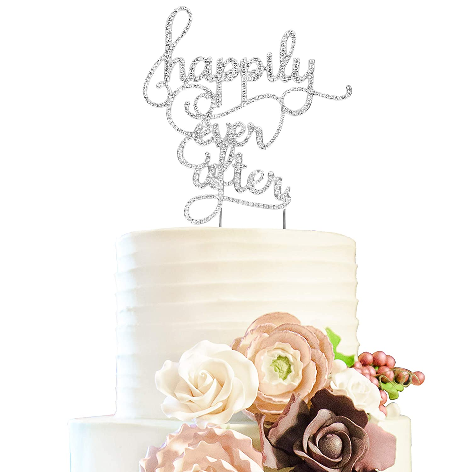 19b2a1e43de Happily Ever After Wedding Rhinestone Cake Topper Bridal Shower Anniversary  Crystal Decoration - Silver.  Amazon.com  Grocery   Gourmet Food