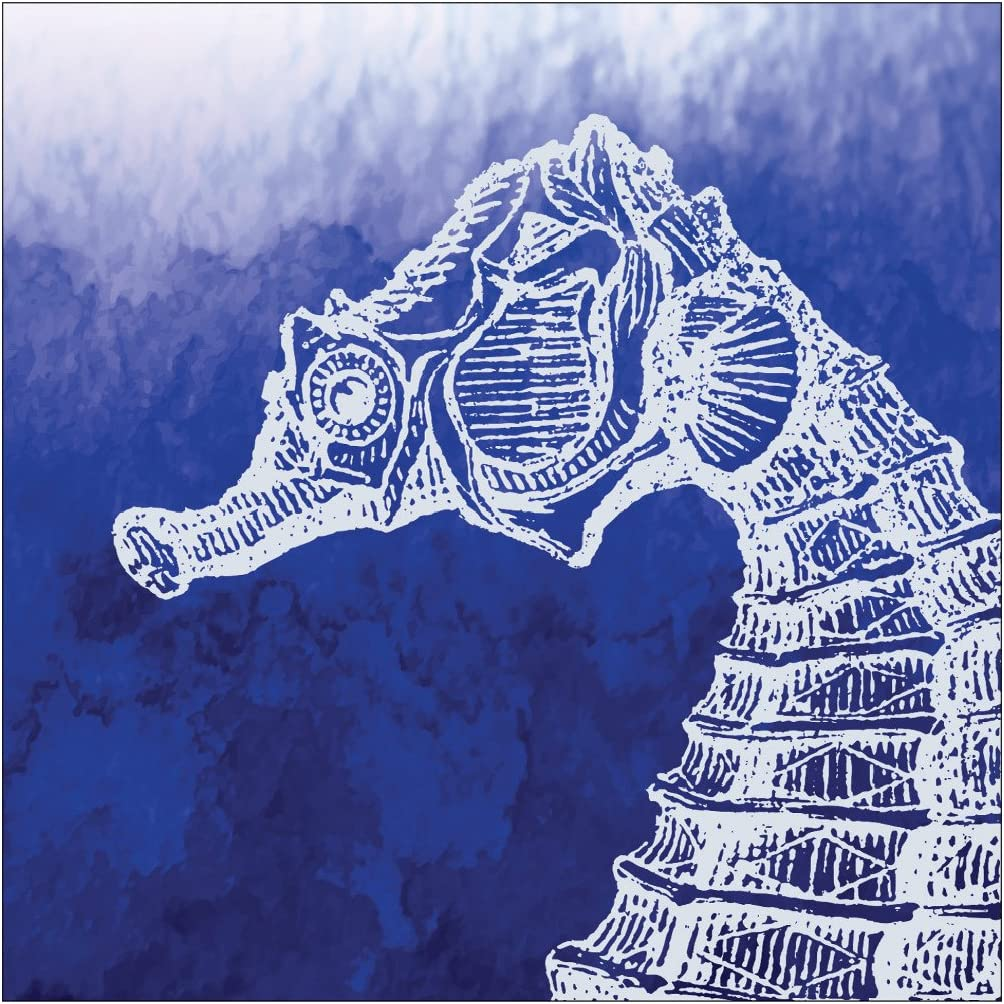 Creative Converting Elise 24 Count 3 Ply Marine Seahorse Beverage Napkins, White/Blue