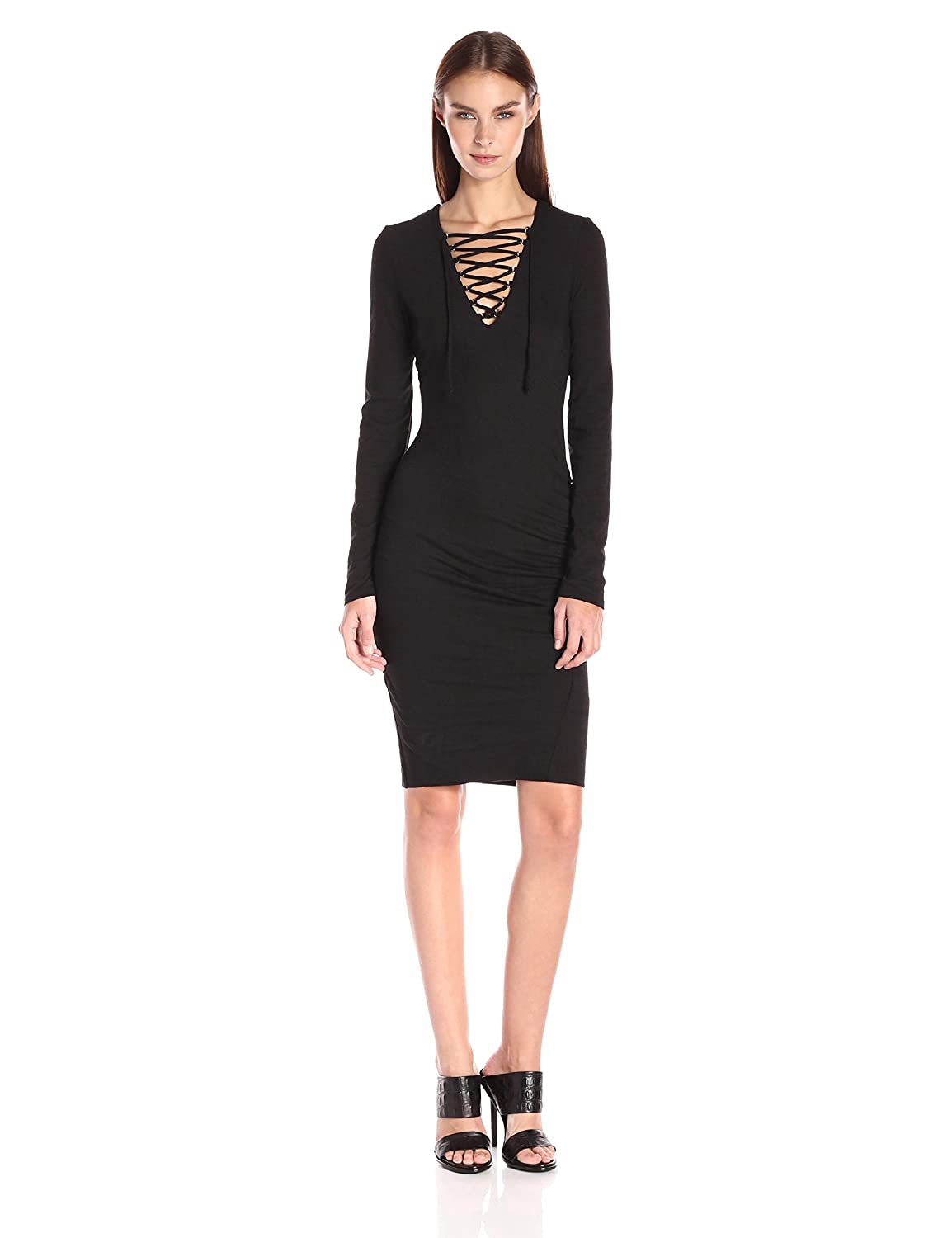 Pam & Gela Women's Lace up Ruched Dress