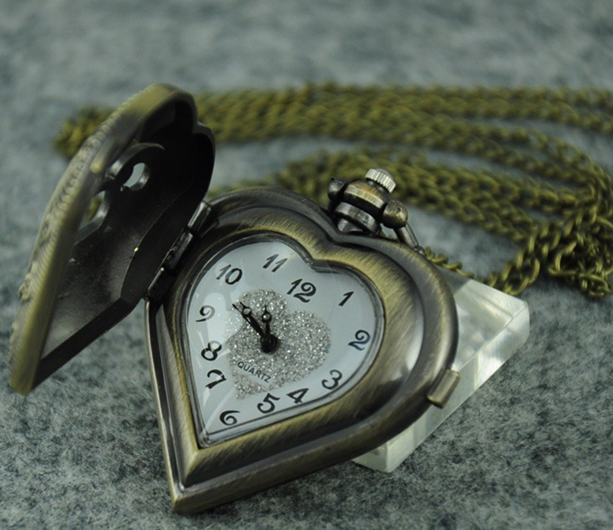 VIGOROSO Men's Antique Steampunk Hollow Out HEART Harry Potter Locket Pocket Watch Necklace
