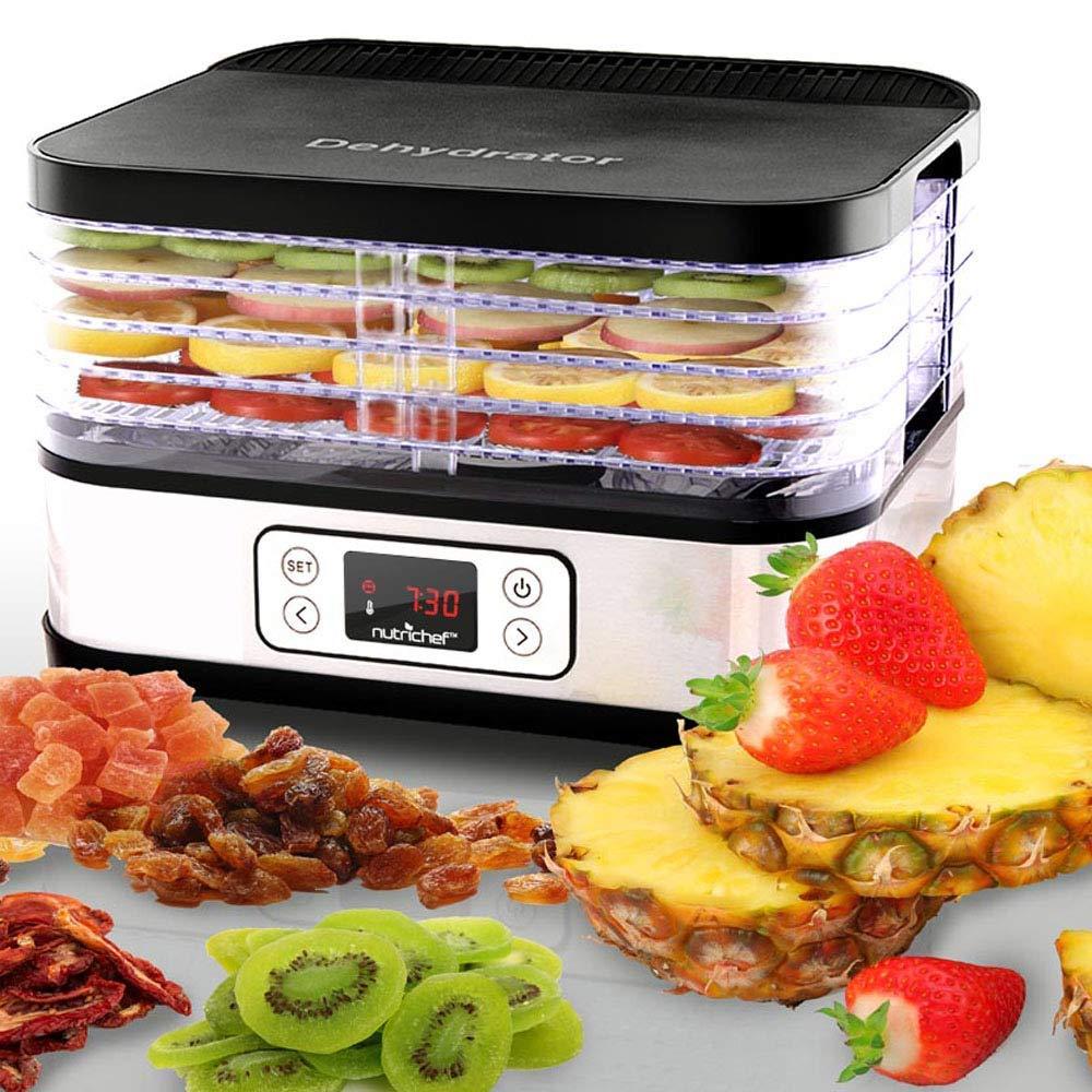 Digital Food Dehydrator Preservation Machine - 250 Watt Multi Tier Professional Stainless Steel Food Preserver with 5 Trays - Meat or Beef Jerky Maker, Fruit and Vegetable Dryer - NutriChef PKFD32
