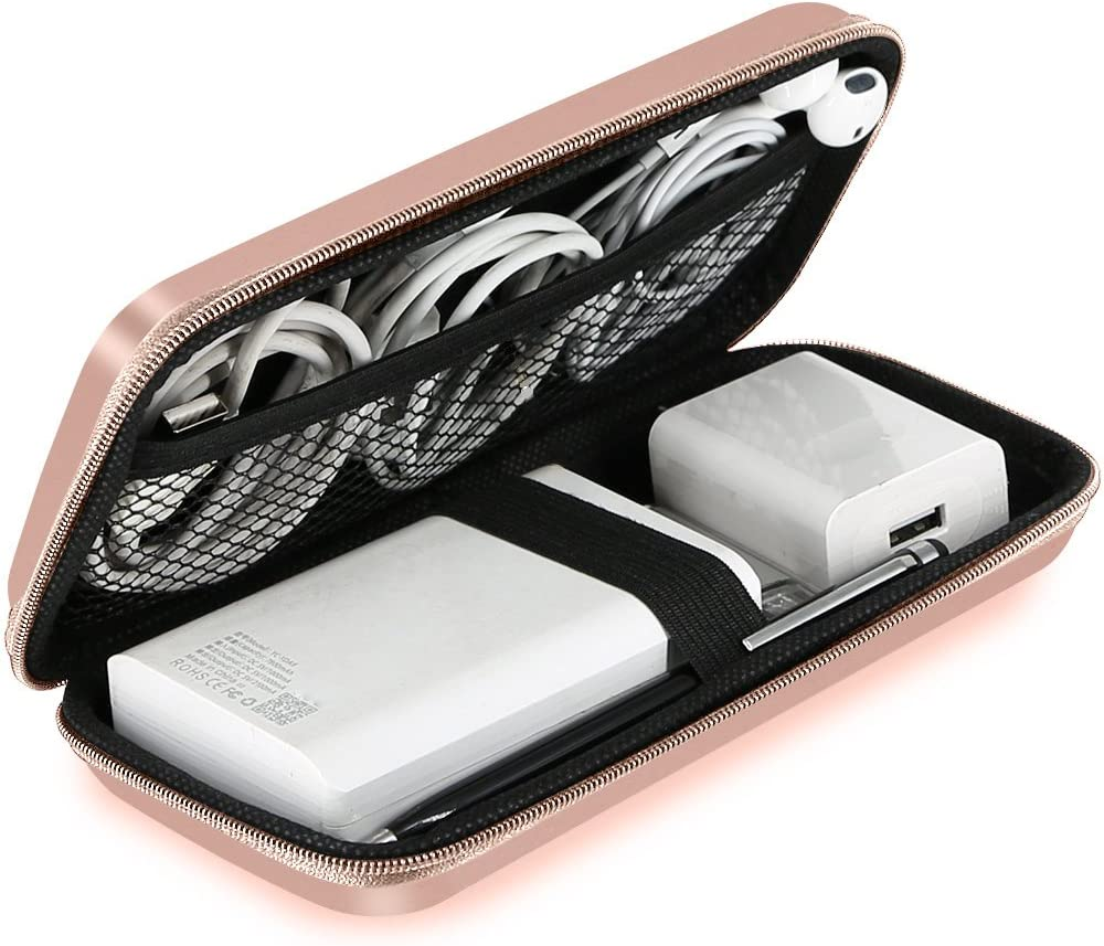 ACOCOBUY Carcasa Protectora de Disco Duro, Estuche a Prueba de Golpes, Cable USB Organizador Eva Bolsa Bolsa de energía Bolsa de batería Externa - Rose Gold
