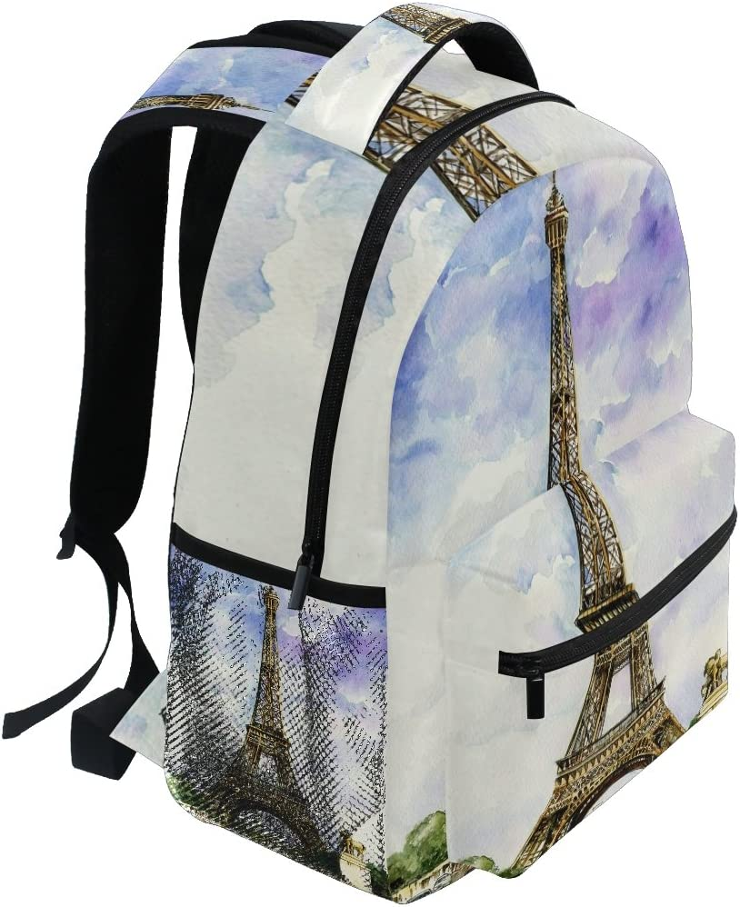 Paris Vintage Poster Backpack School Laptop Travel Shoulder Bags Daypack Boys Girls Mens Womens College