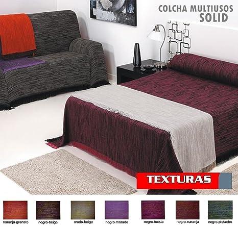 TEXTURAS HOME - Colcha Foulard Multiusos Solid Cotton Bedspread Throw (Varios tamaños Disponibles) (230_x_260_cm, Negro-Fucsia)