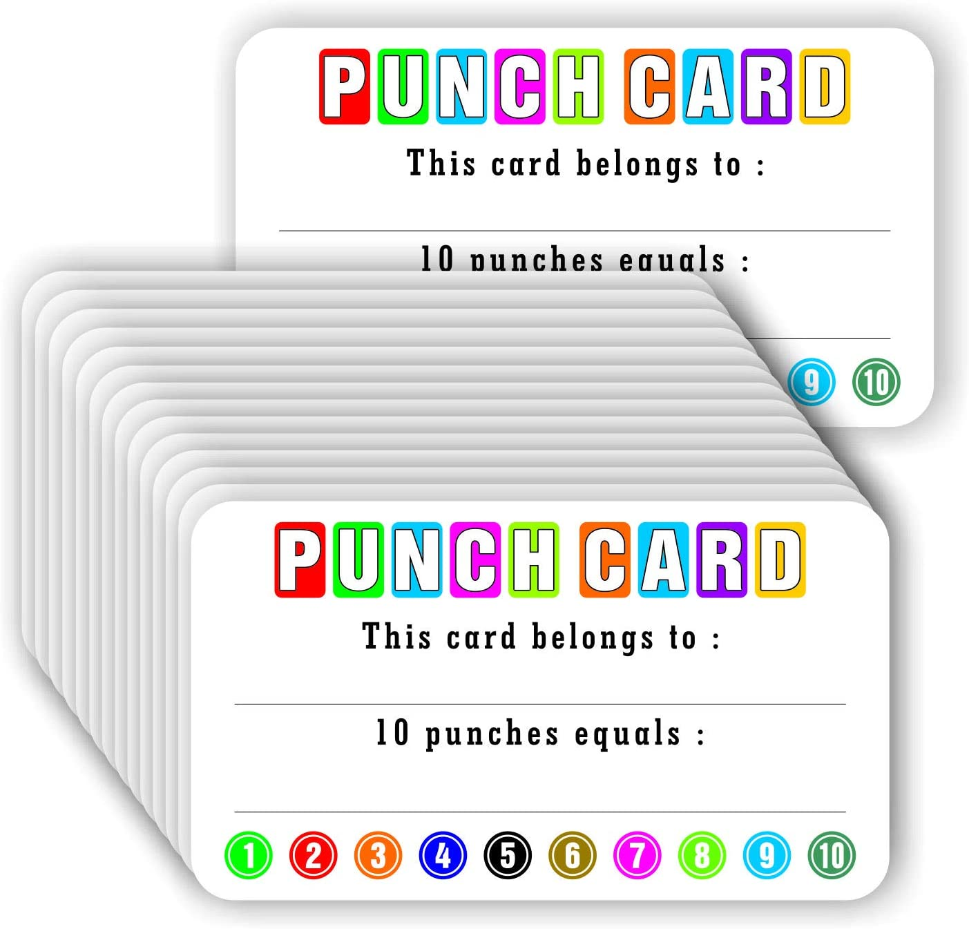 """Punch Cards (Pack of 100) Incentive Loyalty Reward Card for Classroom Business Kids Behavior Students Teachers - 3.5"""" x 2"""" Inches: Arts, Crafts & Sewing"""