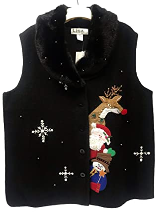c4c87fec1f6c Lisa International Women s Ugly Christmas Sweater Vest   100% Boiled ...