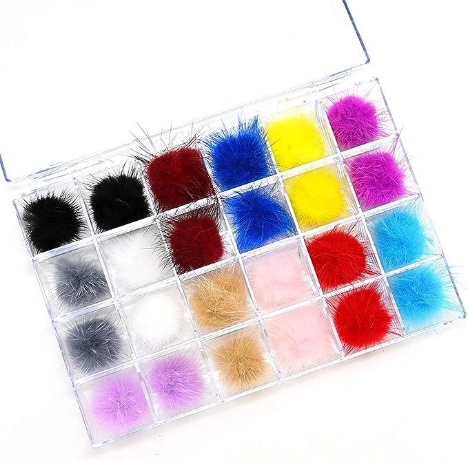 Amazon.com: Zeess 24pcs/Box Colorful Fluffy Plush Pompons 3D Nail Art Ornaments Detachable Magnet Fashion Manicure Accessories Nail Ball (Color : 24pcs): Home & Kitchen