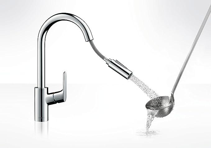 Hansgrohe 31815000 Focus grifo de cocina con ducha extraíble, cromo: Amazon.es: Bricolaje y herramientas