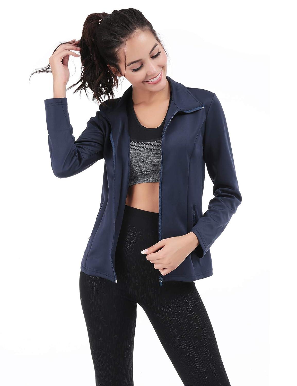 Navy bluee FISOUL Women's Running Sport Jacket Lightweight Full Zip Workout Track Jacket with Zipper Pockets
