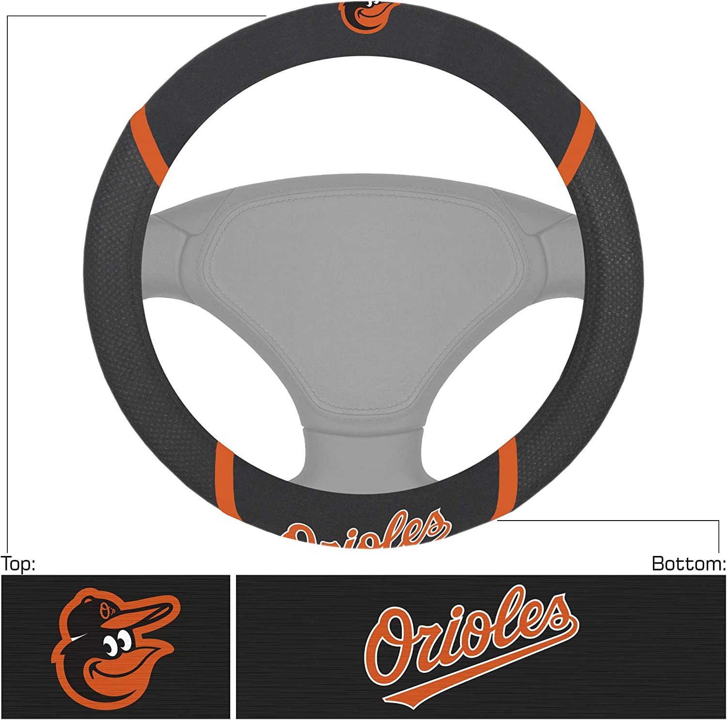 Baltimore Orioles Steering Wheel Cover FANMATS 26514 MLB