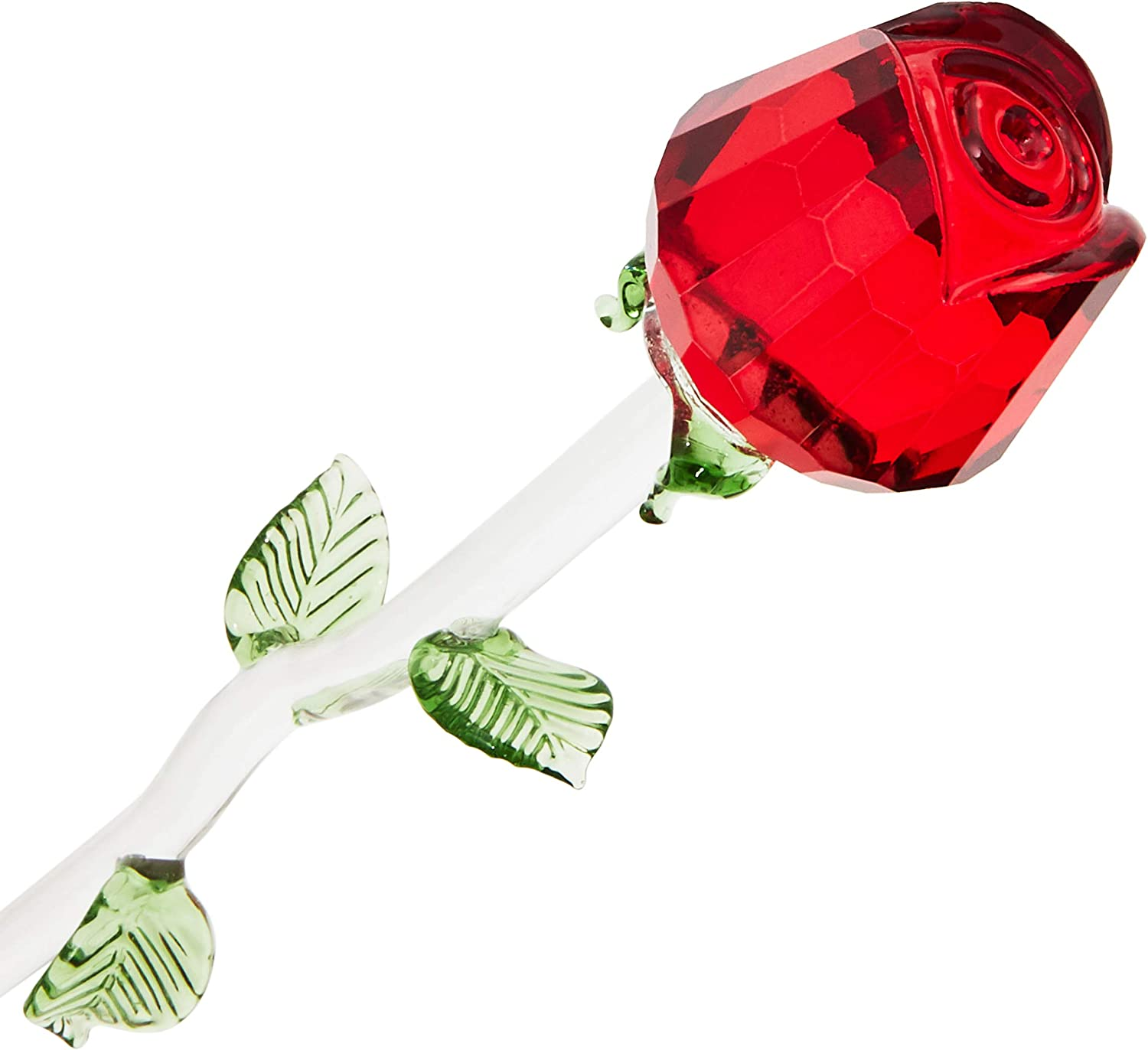 Juvale Crystal Red Rose, Glass Flower for Home Decor or Gifting (13 Inches)